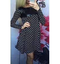 Swing Style Polka Dot Dress – Black and White / Yoke