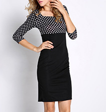 Empire Waist Dress – Slim Fit / Square Neckline / Knee Length / Polka Dot