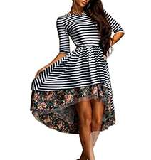 High Low dress – Horizontal Stripes / Black and White / Floral