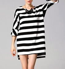 Elliptical Mini Dress – Bold Black and White Stripes