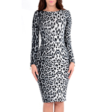 Midi Length Bodycon Dress – Leopard Print / Long Sleeves