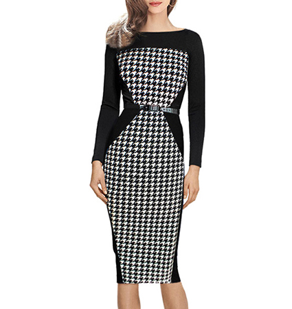 Knee Length Pencil Dress – White Black / Narrow Belt