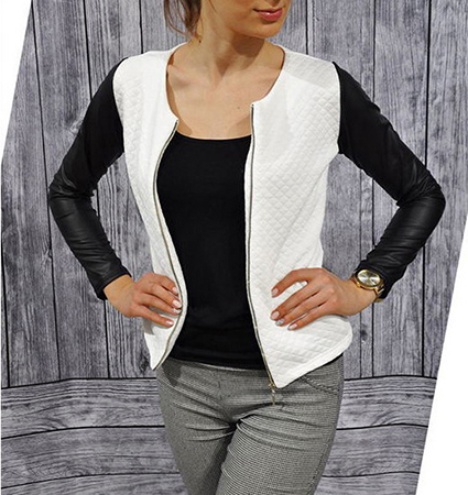 Womens Stretchy Jacket – White and Black / Zip Front Opening