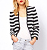 Womens Striped Jacket – Wide Front / Tailored Lines / Back Tab Detail