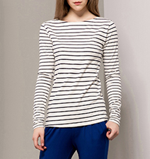 Womens Long Sleeved Shirt – Nautical Stripe Detail / 100% Cotton