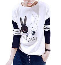 Womens Tee Shirt – Navy and White / Bunny Logo