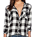 Women Casual Button Up Shirt – Pointed Collar / Black and White Checks