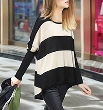 Womens Asymmetrical Shirt – Bold Black and White Stripes / Round Neckline
