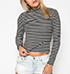 Womens Casual Turtleneck – Narrow Horizontal Stripes / Black and White