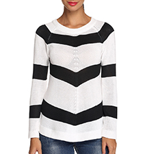 Womens Casual Shirt – Bold Black and White Stripes / Long Sleeves