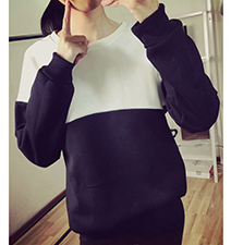 Womens Cute Color Block Sweatshirt