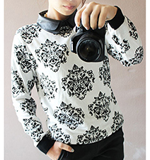 Womens Owl Embellished Knit Sweatshirt