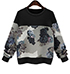 Womens Sweatshirt – Black Gray White / Long Sleeves / Delicate Floral Print