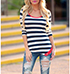 Womens Casual Top – Bold Black and White Stripes / Red Trim