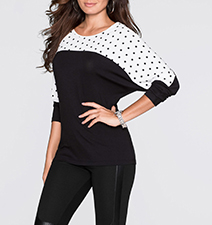 Womens Top – Raglan Sleeves / Black and White