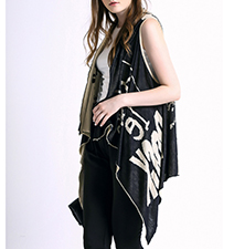 Womens Asymmetrical Vest – Black and White / Graphic Print