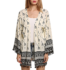 Womens Kimono Style Outer Wrap – East Indian-Inspired Design / Black and Off White