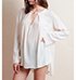 Womens Peasant Blouse – Off White / Asymmetrical Hemline