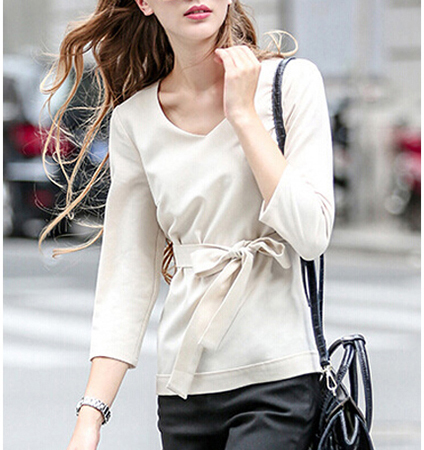 Womens Blouse – Three Quarter Length Sleeves / Natural Color