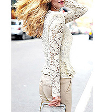 Womens Fully Lined Lace Blouse – White / Long Sleeves