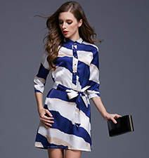 Blue White Striped Dress – Button Up Front / Belted Waistline