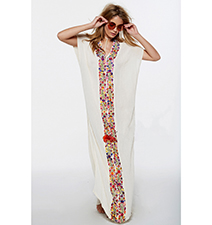 Turkish Style Tunic Dress – Maxi / Semi-Sheer / Short Sleeves / Embroidered / V-Neck