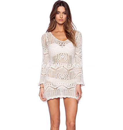 Sexy Crochet Mini Dress – Off White / Semi-Sheer