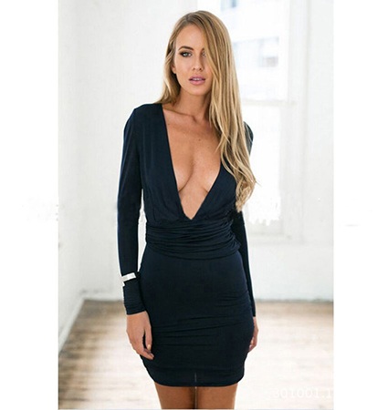 Sexy Day Dress – White / Long Sleeves / Short Hem / Plunging Neckline