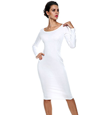 White Knee Length Dress – Long Sleeves / Rounded Neckline