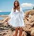 White Cotton Chiffon Dress – Tasseled Hemline / V Neck Collar