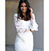White Colored Lace Dress – Rounded Neckline / Bell Bottom Sleeves