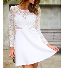 Fit and Flared Lace Dress – Long Sleeves / Rounded Neckline / Heart Section Cut