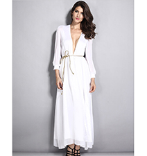 White Maxi Dress – Low Cut V Neckline