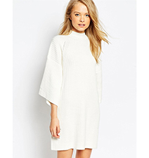 White Sweater Dress – Polo Neck / Flared Sleeves / Three Quarter Length Cut