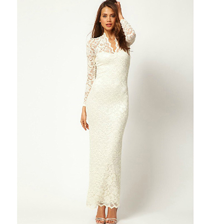 white colored maxi dress lace sleeves scallop hemline