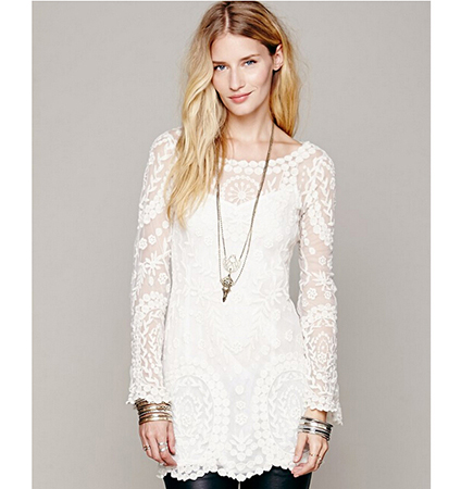 White Lace Dress – Flared Sleeves / Sheer Design