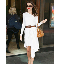 White Dress – Long Sleeves / Knee Length Cut / Three Quarter Length
