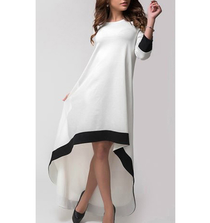 High Low Dress – White / Black Trim / Maxi Length In Back