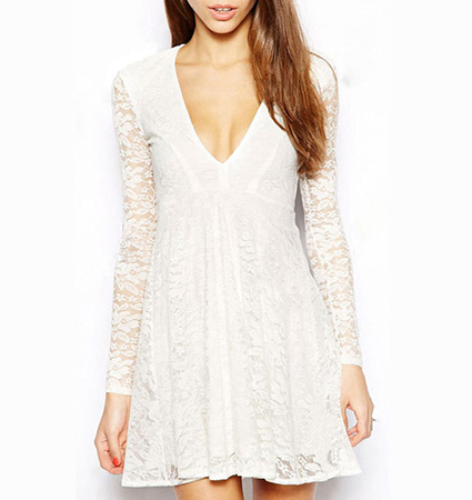 Lace Dress – Long Sleeves / Lace Overlay / V-Neckline / Wide Hemline