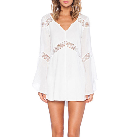 Mini Dress – White / Contrasting Trim / Long Sleeves