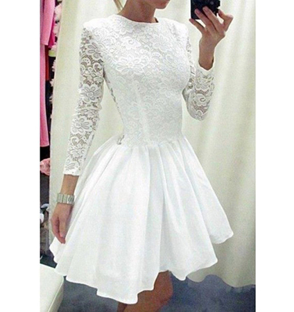 Ruffled Mini Dress – Solid White / Lace