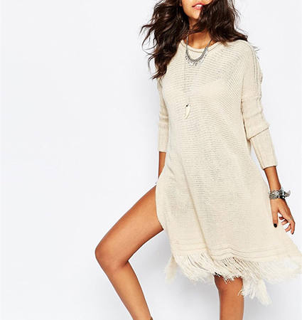 a8d940d7292c Loose Fitting Midi Dress - Cream Colored   Long Sleeves