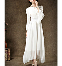Chiffon Maxi Dress – Fully Lined / White