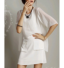 Short Sheer Layered Shift Dress – White
