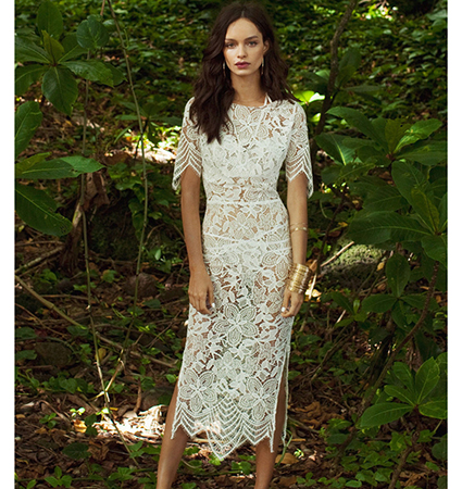 White Sheer Lace Dress – Calf Length / Pointed Hemline / Short Sleeves / Round Neckline