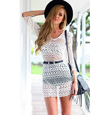 Crochet Lace Dress – Tassel Tie in Back / Scoop Neckline / Sheer / Elbow Length Sleeves