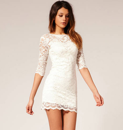 Lace Dress – Sweetheart Bodice Feature / Elbow Length Sleeves / Scalloped Hemline