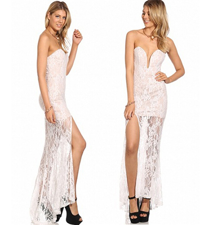 Sexy Lace Dress – Ankle Length / Plunging Neckline / Open Back / Thigh High Slit