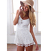 Lace Romper – Lace Overlay / Thin Adjustable Straps / Zippered Closure