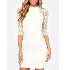 White Lace Sheath Dress – Off The Shoulder / Scooped Neck